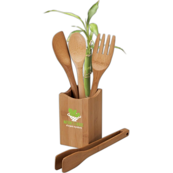 Eco-lifestyle (tm) - Four Piece Bamboo Kitchen Utensil Set Photo
