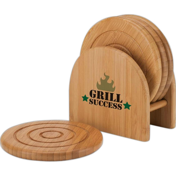 Eco-lifestyle (tm) - Bamboo 4-piece Coaster Set With Matching Holder Photo