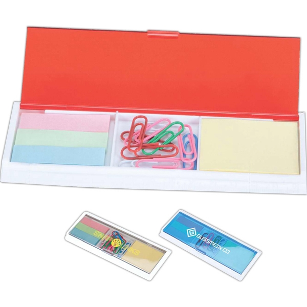 Stationary Set With Color Flags, Rulers, Sticky Notes And Paper Clips Photo