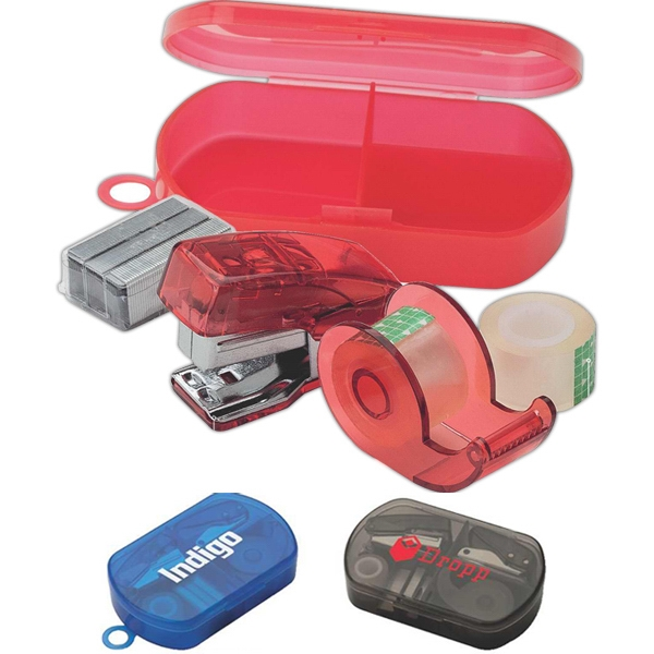 5 Piece Mini Stationary Set With Stapler, Tape Dispenser, Staples In Plastic Case Photo