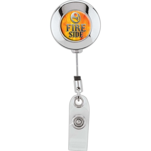Round Chrome Finish Retractable Badge Holder With Standard Clip Photo