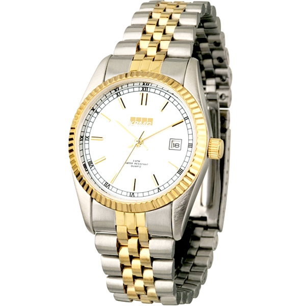 Men's - Two Tone Watch With Solid Brass Case, Folded Steel Bracelet And Date Display Photo