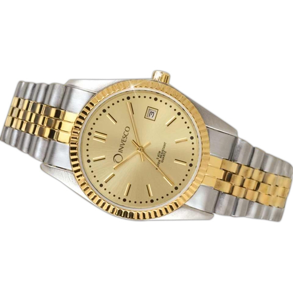 Men's - Water Resistant Two Tone Watch With Date Display And Brass Case Photo
