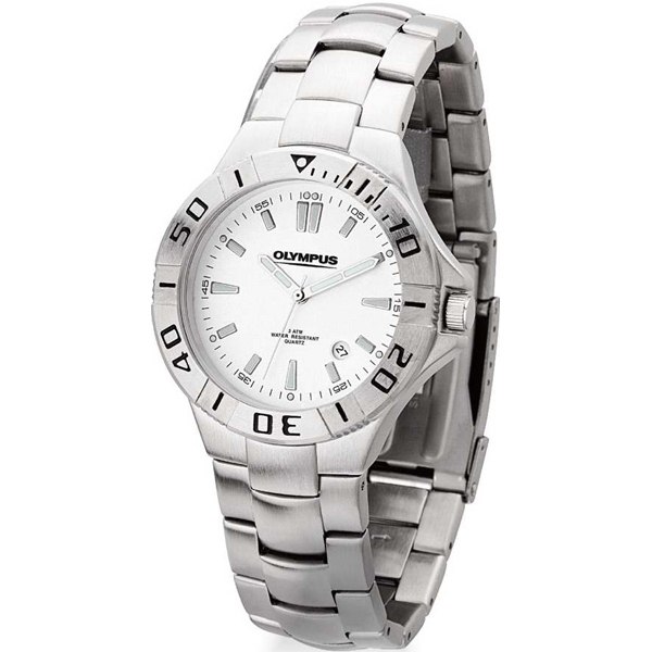 Men's - Watch With Folded Steel Bracelet, Rotating Bezel, Metal Case And Japanese Movement Photo