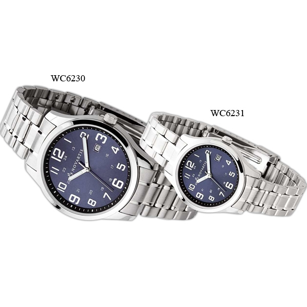 Ladies' - Watch With Silver Finish, Blue Sunray Dial And Date Display Photo