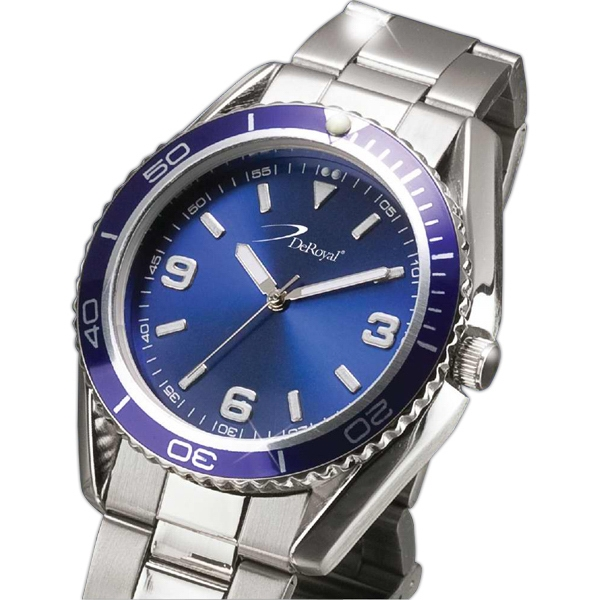Unisex Watch With Metal Case, Blue Bezel And Blue Sunray Dial Photo