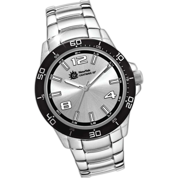 Watch With Folded Steel Bracelet And Mineral Crystal Photo