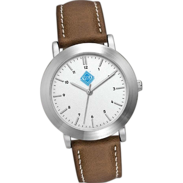 Men's - Metal Case Watch With Brushed Silver Finish And Natural Leather Strap Photo