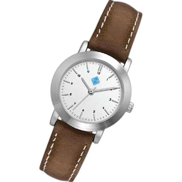 Ladies' - Metal Case Watch With Brushed Silver Finish And Natural Leather Strap Photo