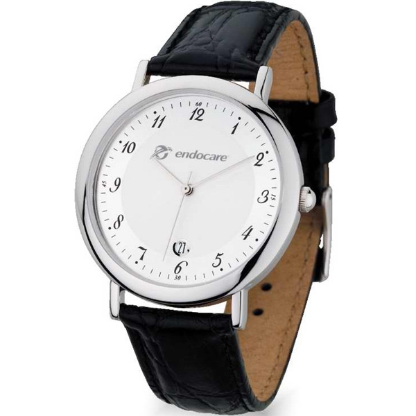Men's - Polished Silver Finish Watch With Date Display, Metal Case And Quartz Movement Photo