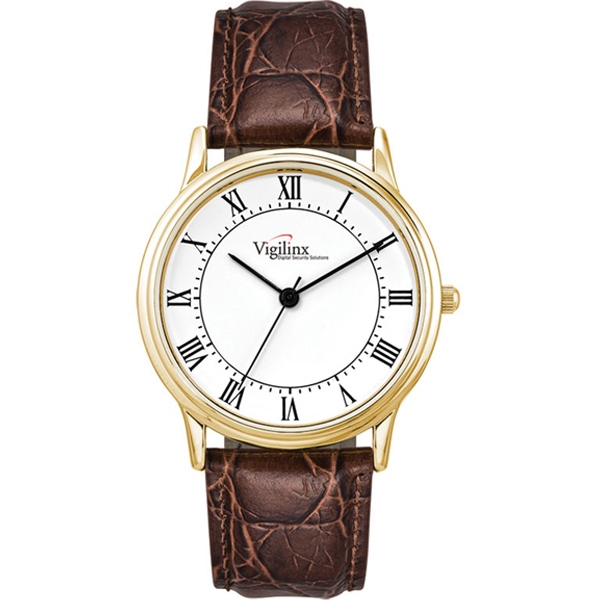 Men's - Crocodile Grain Leather Strap Watch And Polished Gold Finish Photo