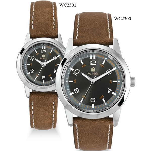 Men's - Watch With Japanese Three Hand Movement And Natural Leather Straps Photo