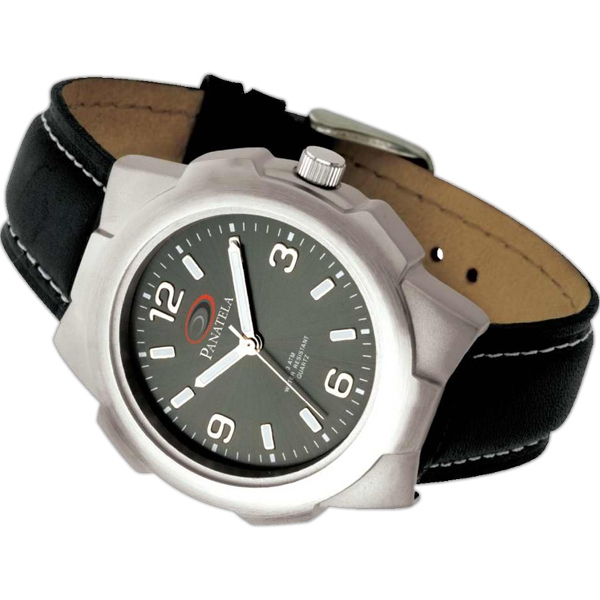 Matte Silver Finish Unisex Watch With Leather Strap And Three Hand Movement Photo