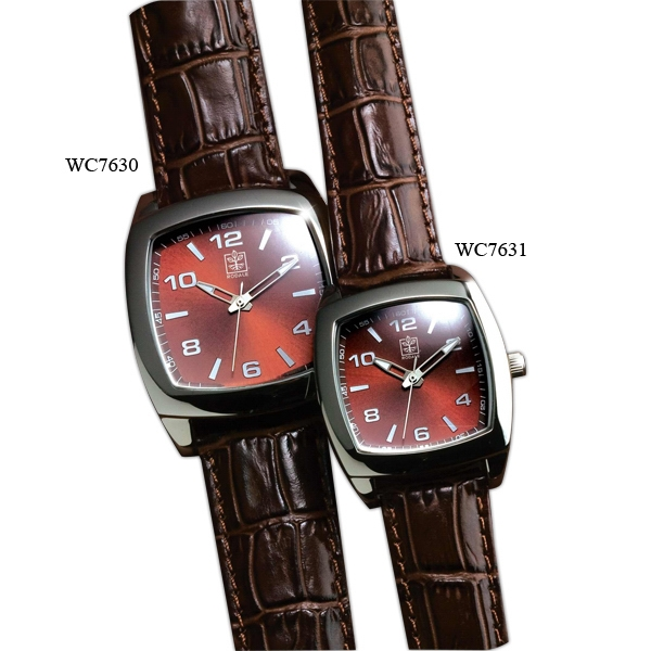 Ladies' - Watch With Italian Leather Crocodile Pattern Straps Photo
