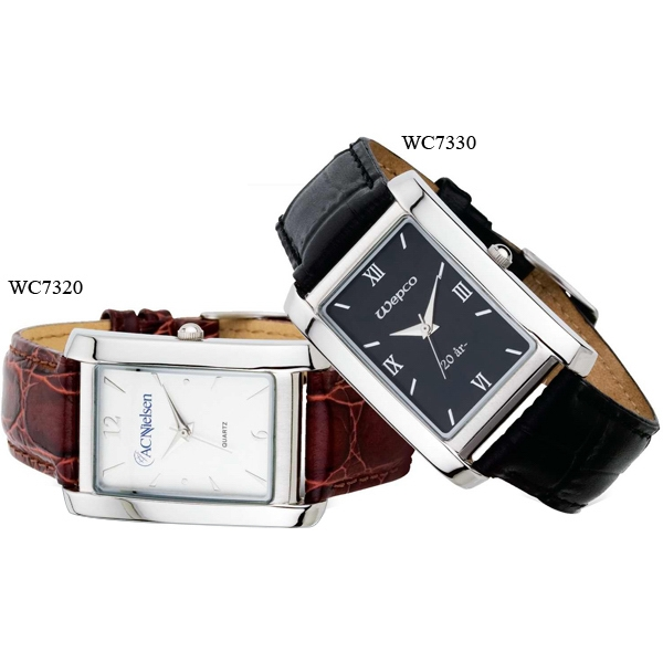 Men's - Watch With White Dial, Metal Case And Leather Strap Photo