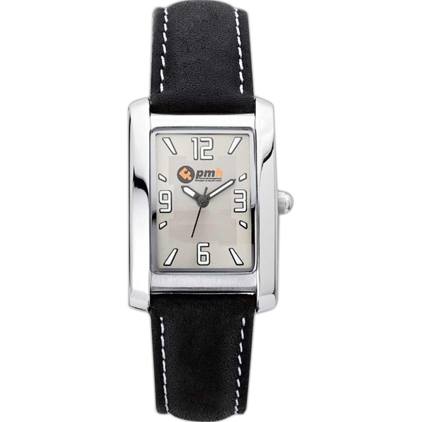 Ladies' - Brushed And Polished Silver Finish Watch With Leather Strap Photo