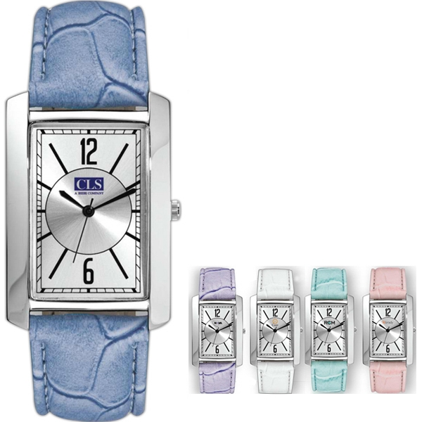 Watch With Metal Case And Leather Straps With Soft Colors Photo