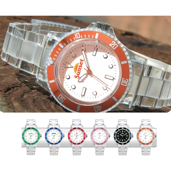 Custom Unisex Watch With Rotating Bezel And Clear Acrylic Case And Bracelet Photo