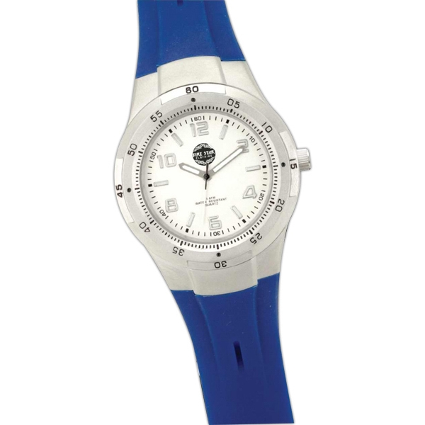 Blue Unisex Wristwatch With Rubber Strap And Metal Case Photo