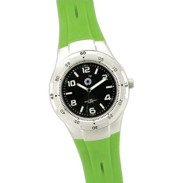 Lime Unisex Wristwatch With Rubber Strap And Metal Case Photo