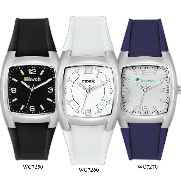 White - Watch With Metal Case And Rubber Straps Photo