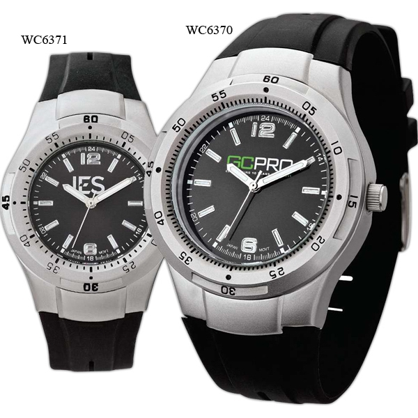 Men's - Cool Black Watch With Silver Finish, Rubber Strap And Water Resistant To 3 Atm Photo