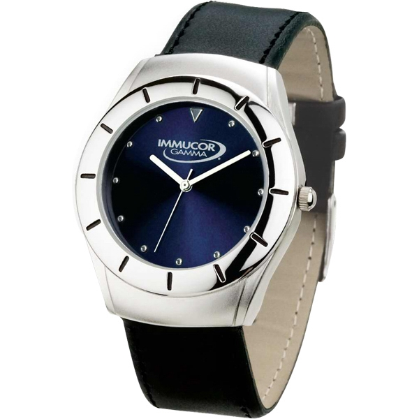 Men's - Watch With Blue Sunray Dial And Black Leatherette Strap Photo