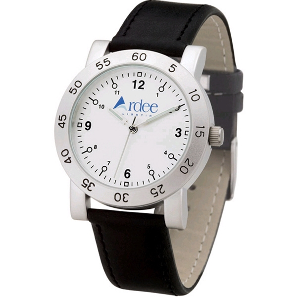 Men's - Matte Silver Finish Watch With Metal Case And Leatherette Straps Photo