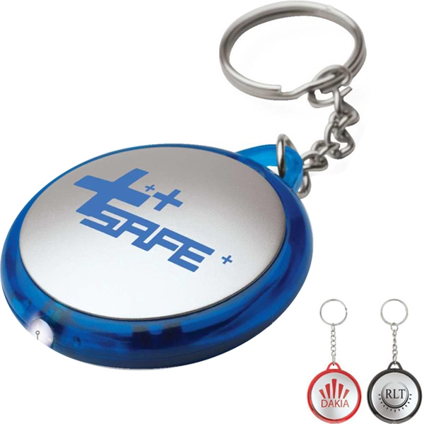 Round Flashlight Keychain With Translucent Colored Edges Photo