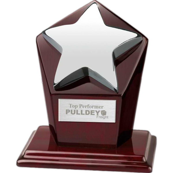 Metal Star Award On Hexagonal Mahogany Base Photo