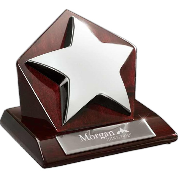 Award With Metal Star On Hexagonal Wood Base Photo