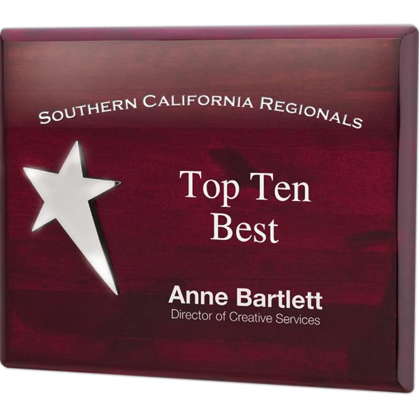 Mahogany Plaque With Silver Star Accent Photo