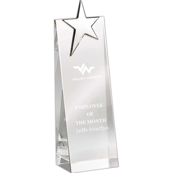Crystal Tower Award With Silver Star At Top Photo
