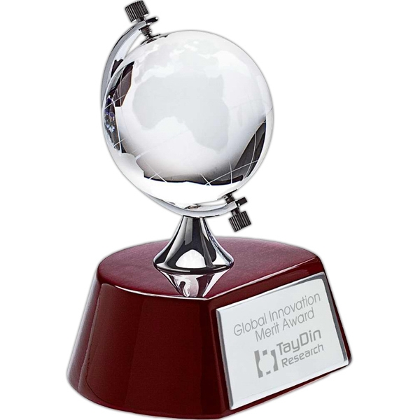 Spinning Crystal Globe Award On Wood Base Photo