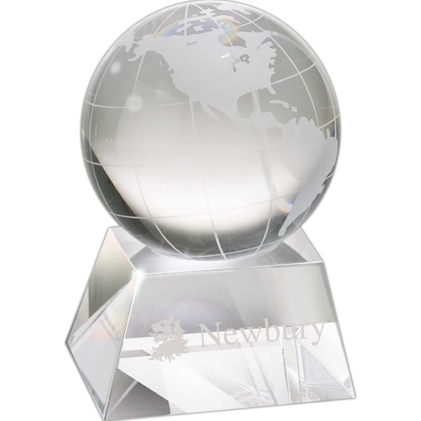 Crystal Globe Award With Base Photo
