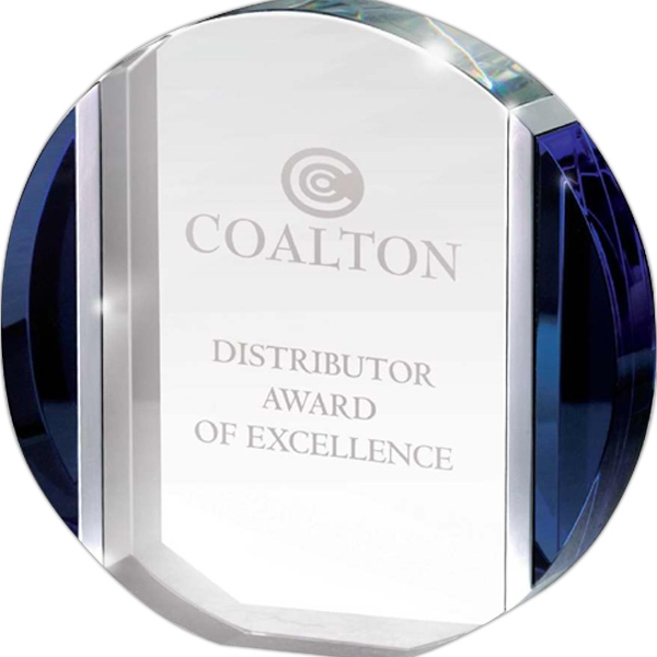 Blue And Aluminum Edged Crystal Disc Award Photo