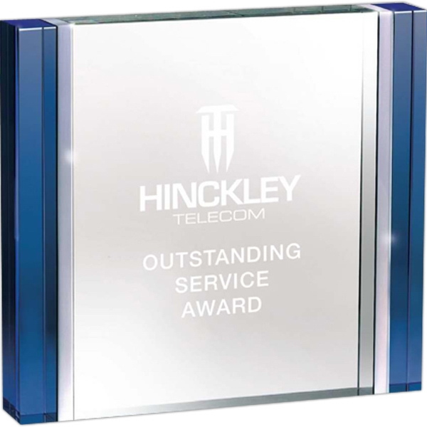 Blue And Aluminum Edged Crystal Rectangle Award Photo