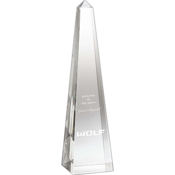 "2 3/4"" X 11"" X 2 3/4"" - Crystal Obelisk Shaped Award Photo"