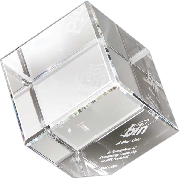 Large Crystal Corner Block Award Photo