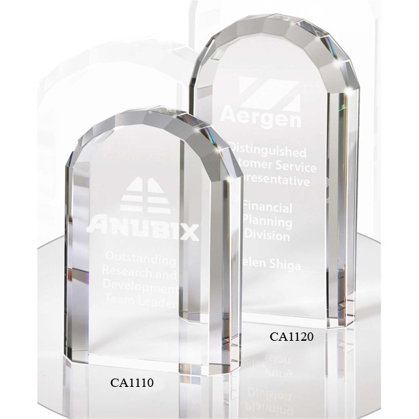 "4 1/4"" X 8"" X 1 5/8"" - Crystal Arch Shaped Award With Beveled Edge Photo"
