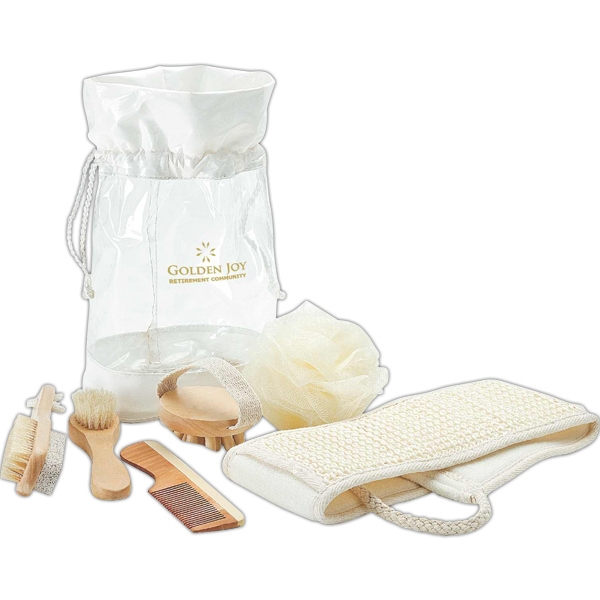 Six Piece Spa Kit In Transparent Drawstring Pouch Photo