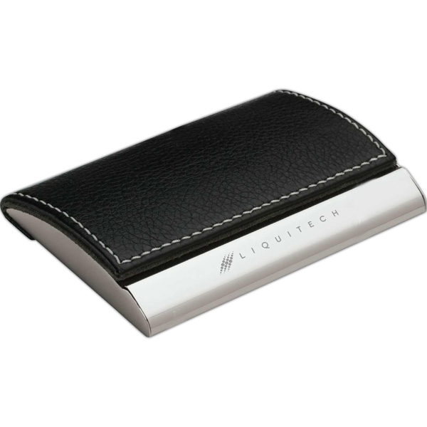 Textured Black And Silver Finish Business Card Case With Magnetic Flap Closure Photo