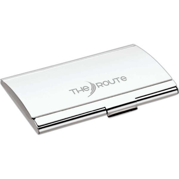 Silver Finish Business Card Case With Arched Lid Photo