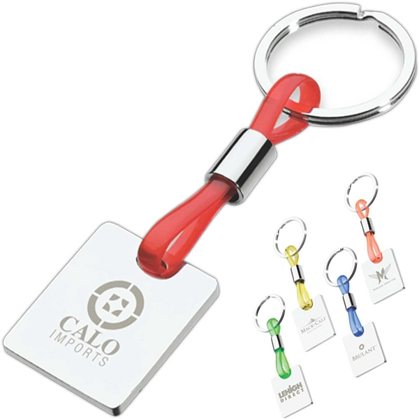 Keyring With Colorful Translucent Strap With Shiny Nickel Tag Photo