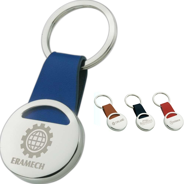 Chrome Disk Keyring With Leather Strap Photo