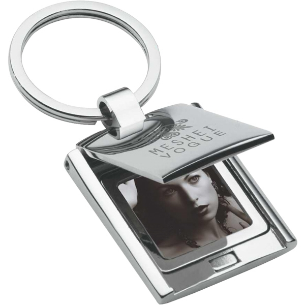 Chrome Finish Keyring With Flip Top Photo Frame Photo