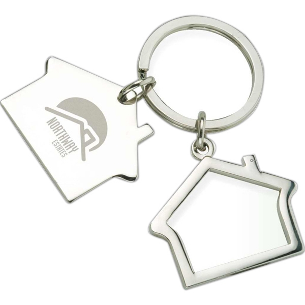 Key Ring With Two Shiny Houses, One Solid And One Outline Photo