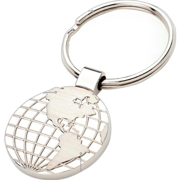 Metal Keyring With World Map Design, Matte And Shiny Finishes Photo