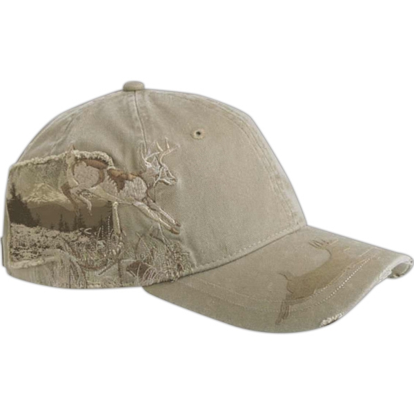 Wildlife Series - Applique Deer - 6-panel Cotton Twill Cap With Frayed Twill Patch And Flocking Details On Bill Photo