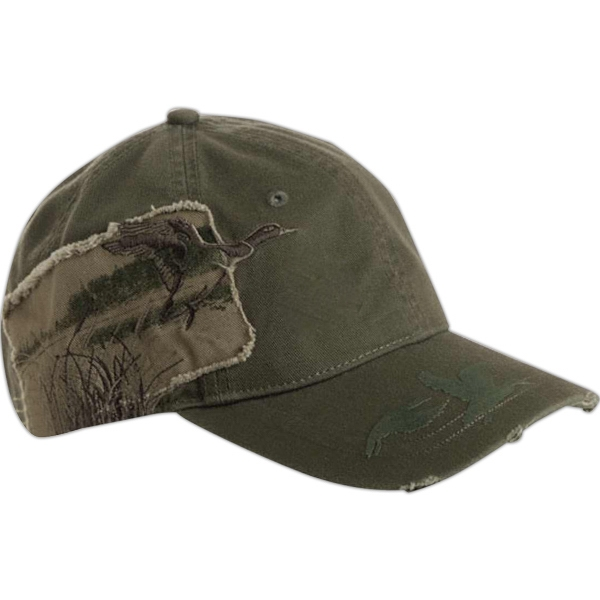 Wildlife Series - Applique Mallard - 6-panel Cotton Twill Cap With Frayed Twill Patch And Flocking Details On Bill Photo
